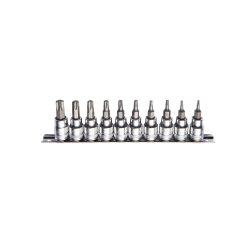 "3/8"" Drive Torx Bit Socket Set T10-T55 10 Pieces on a Rail"