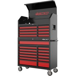 Toolbox Stack 21 Drawers Roll Cab & Top Box Heavy Duty with Charging Option Grey