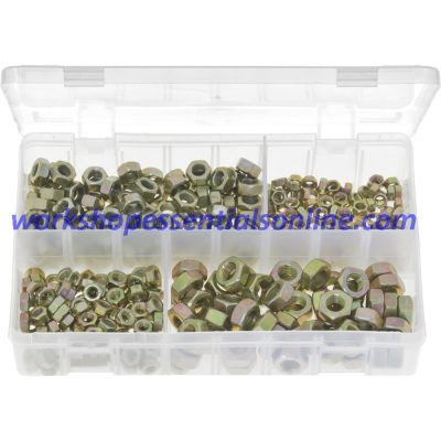 Metric Fine Steel Nuts. Zinc Plated. 370 Pieces. AB12