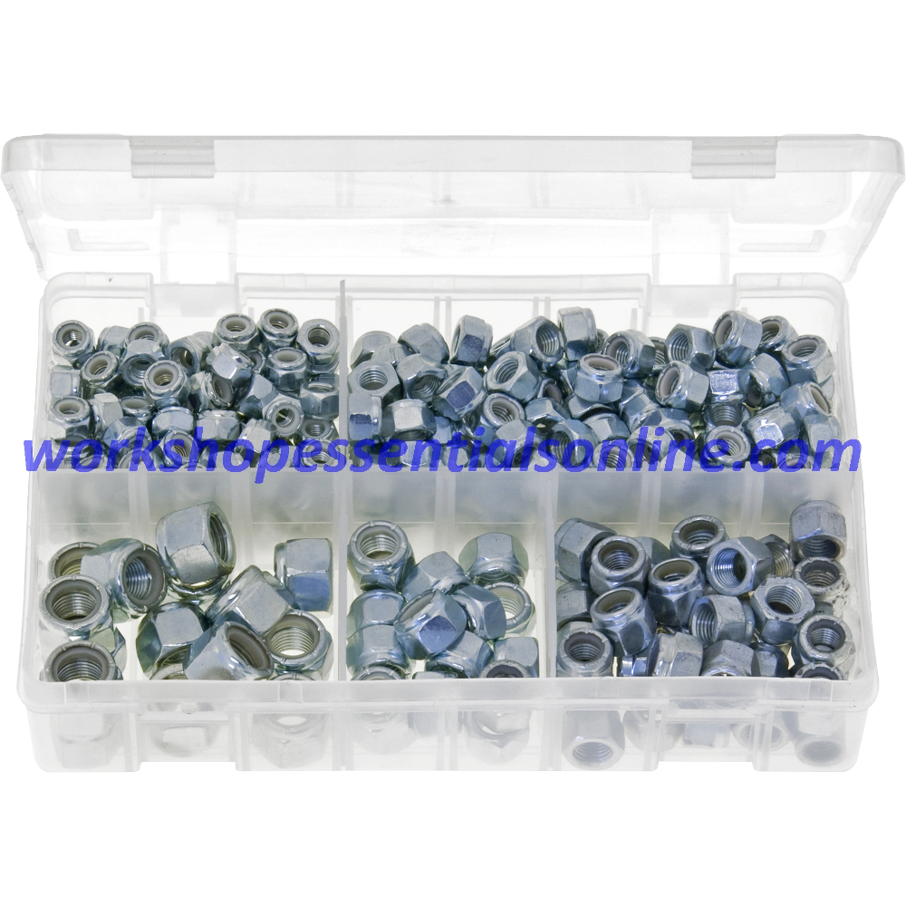 "UNF Nylon Lock Nuts. Sizes 1/4"" to 1/2"". 300 Pieces. AB13"