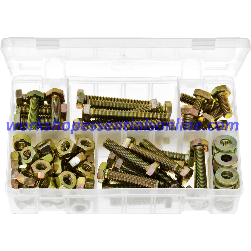 M10 Metric High Tensile Set Screws, Steel Nuts, Flat Washers. AB130