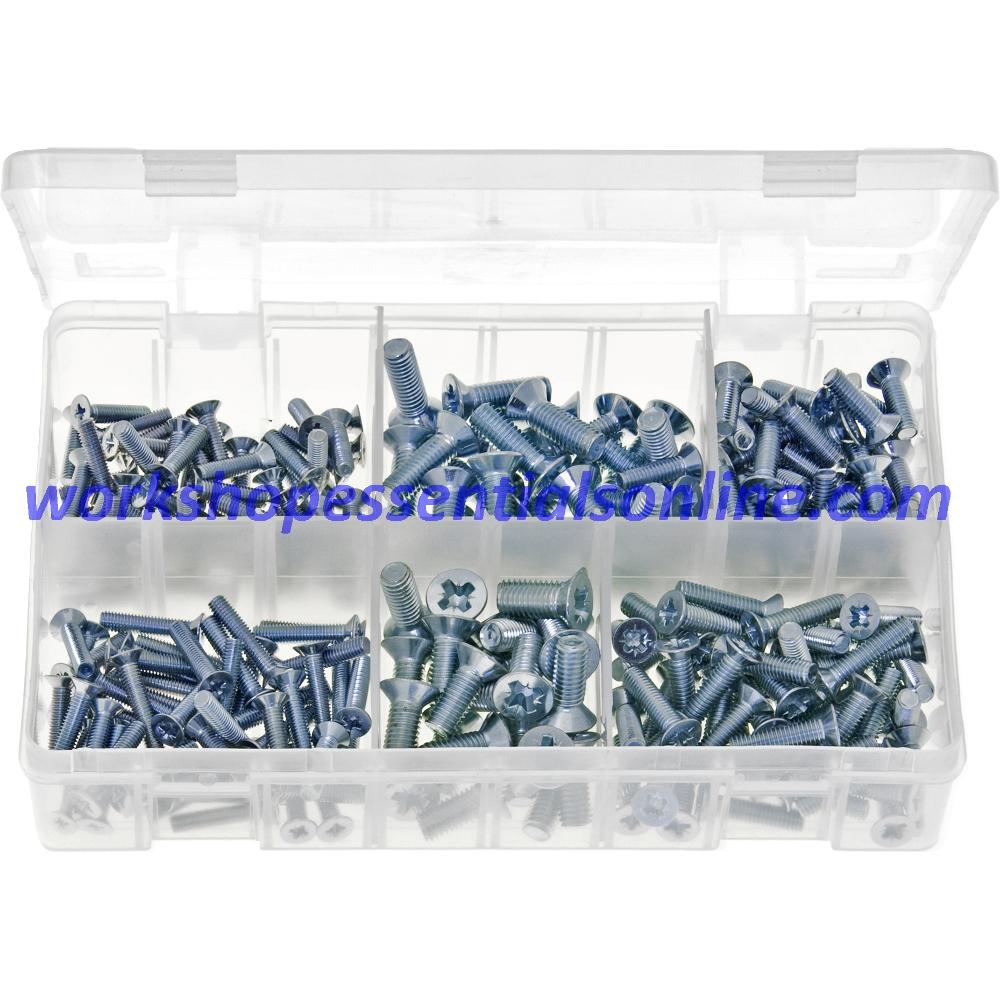 Machine Screws (Body Screws) Countersunk, Pozi-Metric. 250 Pcs AB135