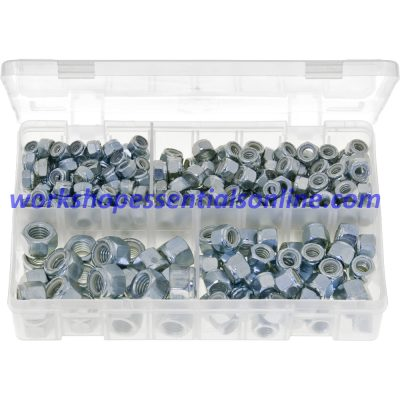 "UNC Nylon Lock Nuts. Sizes 1/4"" to 1/2"". 300 Pieces. AB14"
