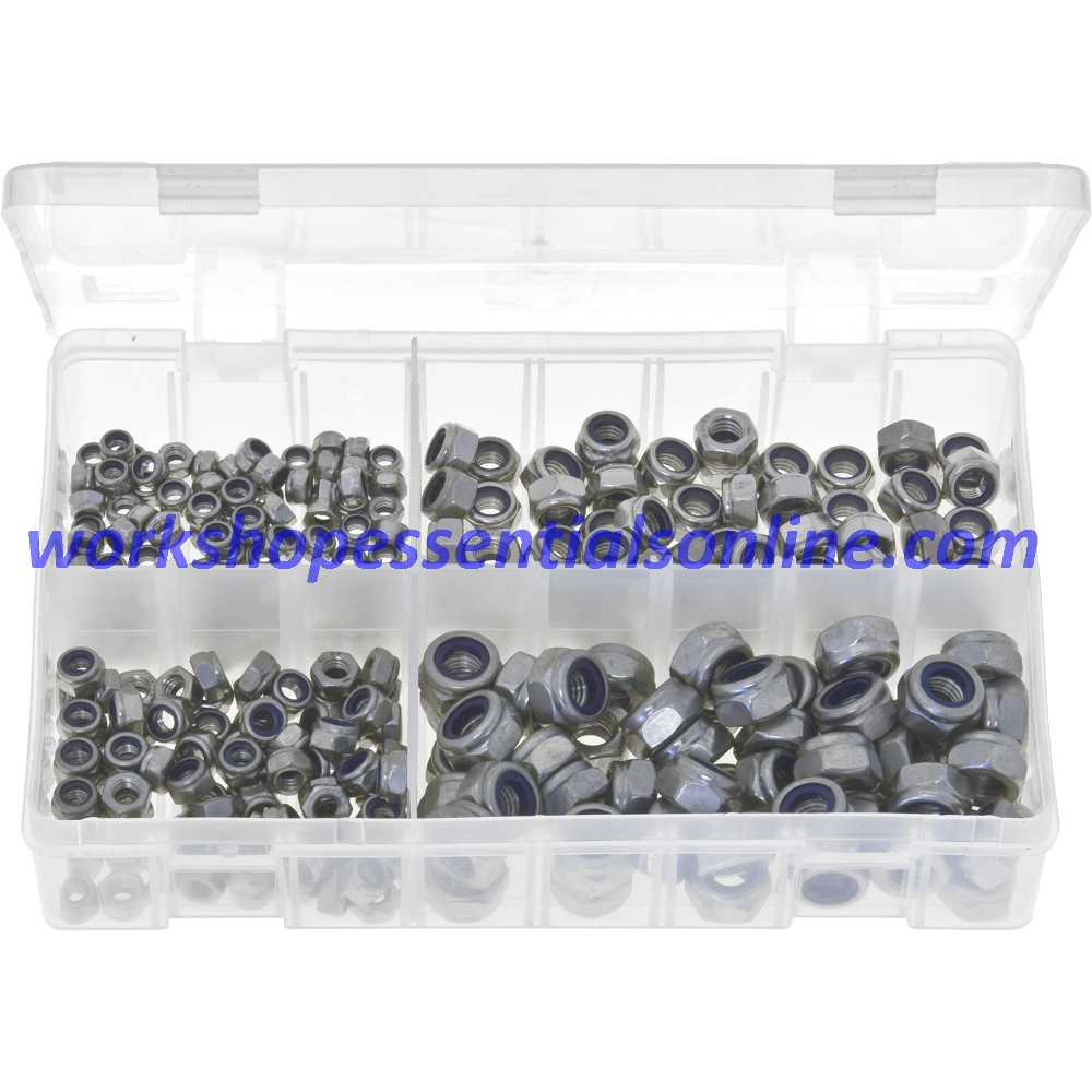 Metric Stainless Steel Nylon Lock Nuts 250 Pieces. AB156
