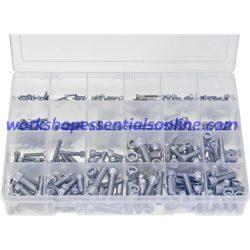 Metric Socket Screws Cap Head. 300 Pieces Zinc Plated Max Box AB563