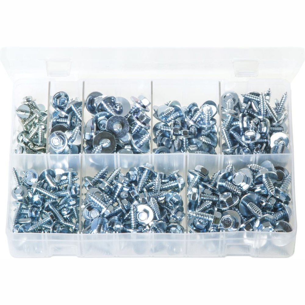 Sheet Metal Screws with Captive Washer. Zinc Plated. 300 Pieces. AB132
