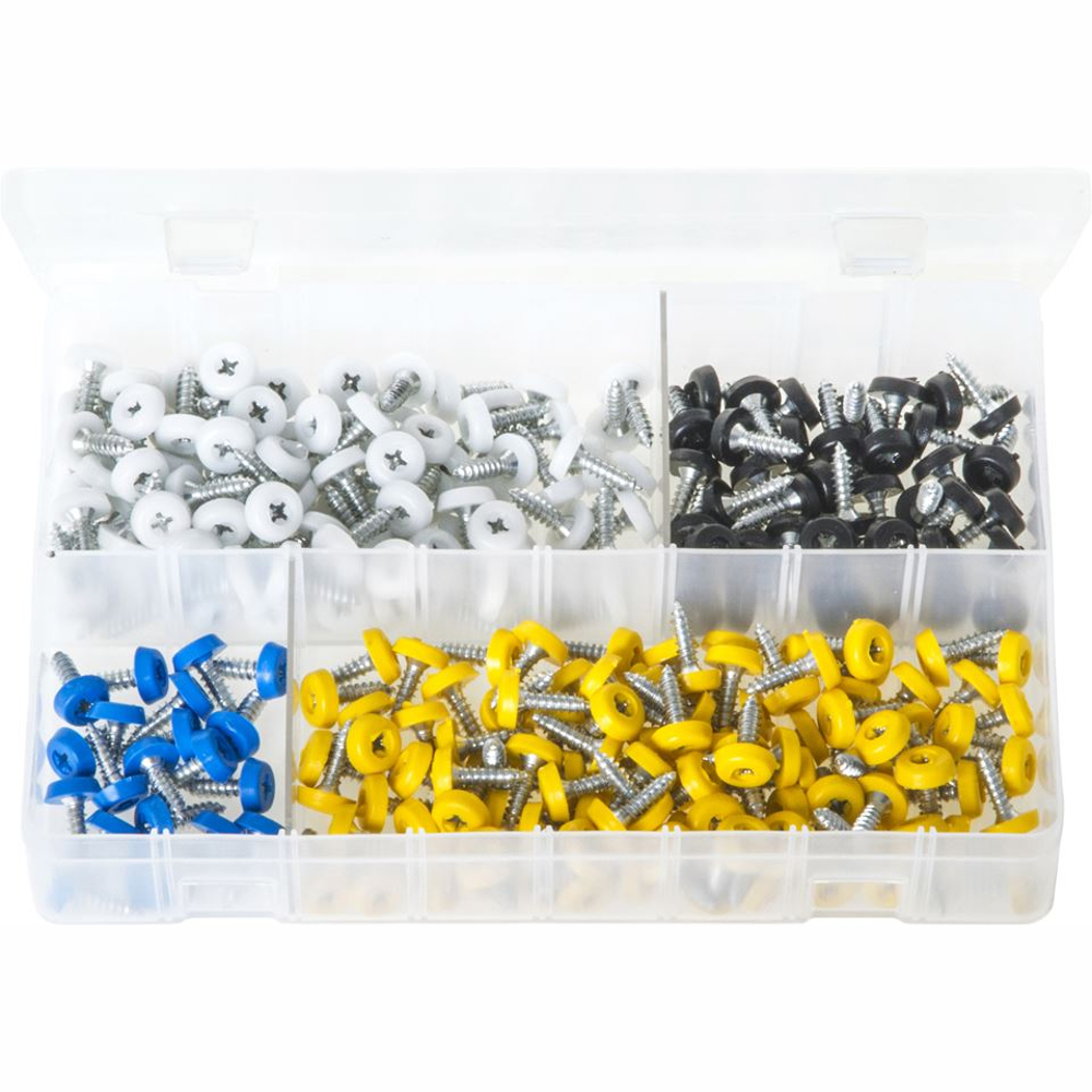 Number Plate Fasteners with Plastic Head - Short 260 Pieces. AB184