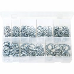Metric Lock Washers Serrated - External. 440 Pieces AB208N