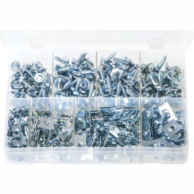 Sheet Metal Screws & J-Nuts. Zinc Plated. 350 Pieces. AB51N