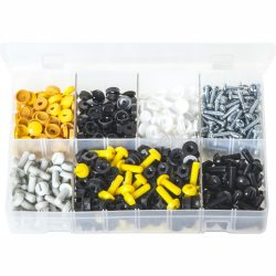 Number Plate Fasteners White, Yellow & Black 240 Pieces. AB62
