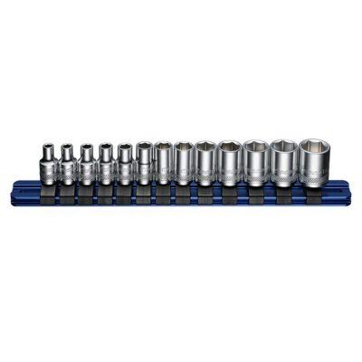 """1/4"""" Drive Socket Set 4-14mm 13 Pcs on Aluminium Rail BOXO B-1413AL"""