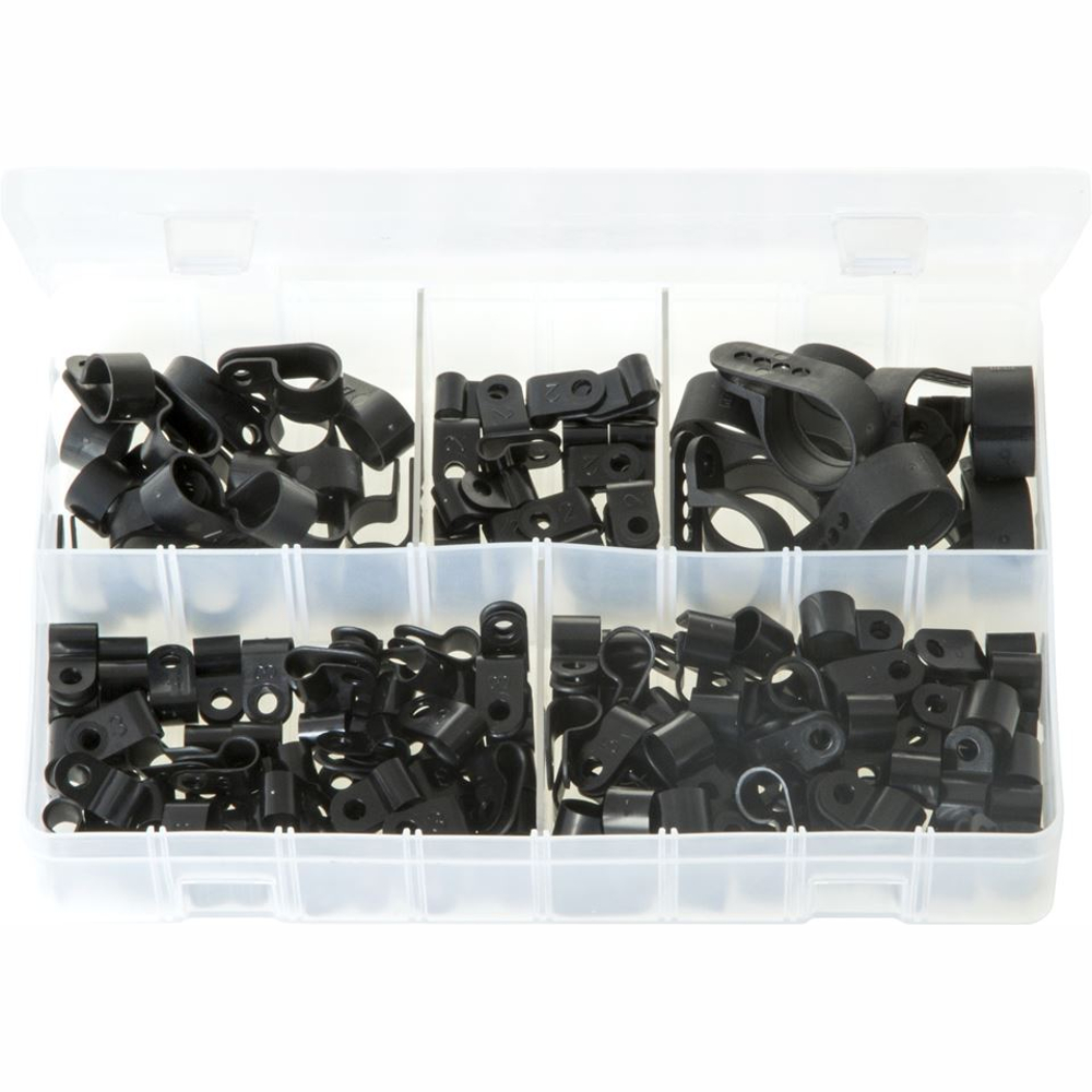 P-Clips. Black Nylon. Assorted. 160 Pieces. AB193