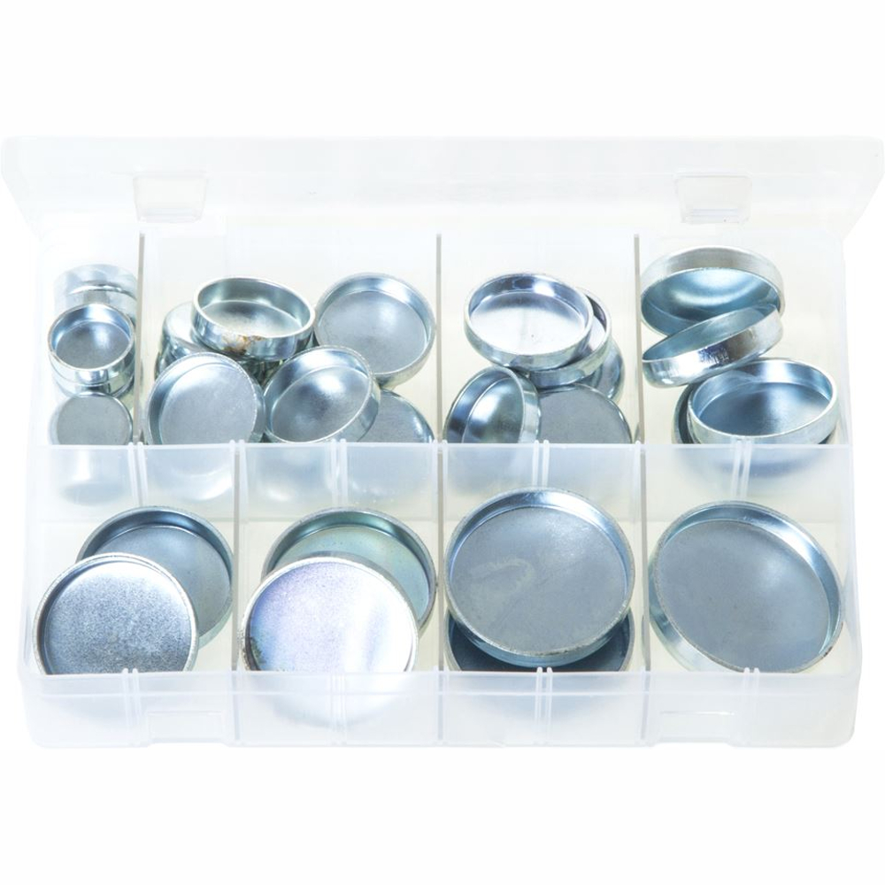 Core Plugs Cup Type - Imperial. Zinc Plated Steel. 38 Pieces. AB30N