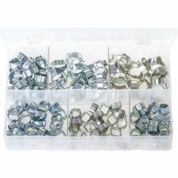 O-Clips - 2-Ear Clamps. Zinc Plated. 140 Pieces. AB38