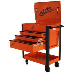 Tool Cart/Trolley. 4 Drawer Quick Assembly Orange with Black Draw Pulls TT403OB