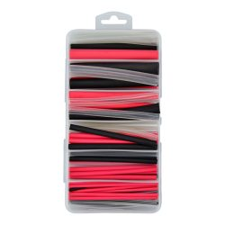 Heatshrink Kit, 3:1 Ratio. Black, Red & Clear. Assorted Sizes. 87 Pieces. CHSK3