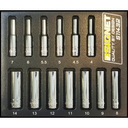 "1/4"" Drive Deep Metric Socket Set 13pc 4-14mm 6 Point Signet S11432 in EVA Foam"