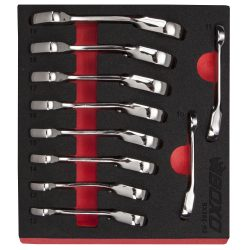 Ratcheting Spanner Set 10 Piece Stubby Reversible. In EVA Foam BOXO BX392-R2