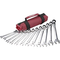 Ratcheting Spanner Set 12 Piece Reversible. In Canvas Roll BOXO PA602