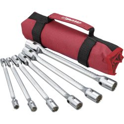 Flex Socket Double Ended Wrench Set. 12Pt. 6 Pieces. BOXO In Canvas Roll. PA701