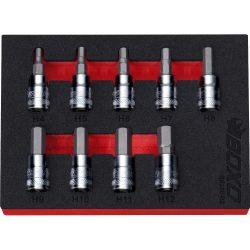 "3/8"" Drive Hex Bit Socket Set 4-12mm 9 Pcs 48mm Overall Length BX310-R2"