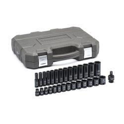 "3/8"" Drive GearWrench Impact Socket Set 8-22mm Short & Deep + UJ Plastic Case"