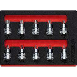 """3/8"""" Drive Super Stubby Torx Bit Socket Set 10 Pieces BOXO BX318-R2"""