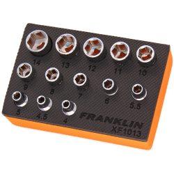 """1/4"""" Drive sSocket Set 6 Point 13 Pcs 4-14mm 24mm Height Franklin XF1013"""