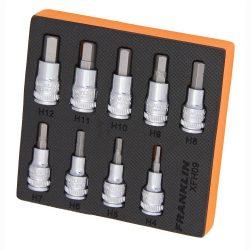 """3/8"""" Drive Hex Bit Socket Set 9 Pc Franklin Tools XFH09"""