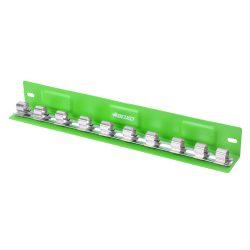 "1/2"" Drive Socket Holder Magnetic 'L' Type Tray Green 10 Pcs BOXO B-12LTRAY-G"