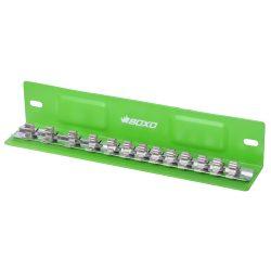 "1/4"" Drive Socket Holder Magnetic 'L' Type Tray Green 13 Pcs BOXO B-38LTRAY-G"