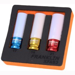 "1/2"" Drive Alloy Wheel Nut Socket Set 6 Point 3 Pcs Franklin Tools XFAS3"