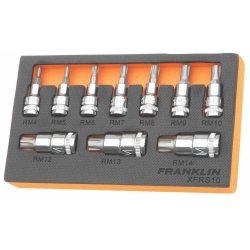"3/8"" & 1/2"" Drive Ribe Bit Socket Set 10 Pcs Franklin Tools XFRS10"