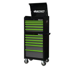 Toolbox Stack 11 Drawer Roll Cab & Top Box Heavy Duty with Trim Pack Black