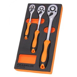 "1/4"" & 3/8"" & 1/2"" Drive Ratchet Set 72 T 3 Pce Franklin Tools XFR372"
