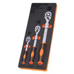 """1/4"""" & 3/8"""" & 1/2"""" Drive Extending Ratchet Set 72 T 3 Pce Franklin Tools XFR3E"""