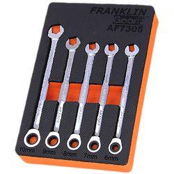 Combination Ratchet Spanner Set 5 Pc 12 Pt 6-10mm Grip4+ Franklin Tools AF7305