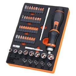 """1/4"""" Drive 6 Pt Socket & Ratchet Screwdriver Set 59 Pce Franklin Tools GF059H"""