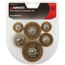 Abracs Spindle Mounted Wire Wheel & Cup Brush Set 6 Piece ABSM1
